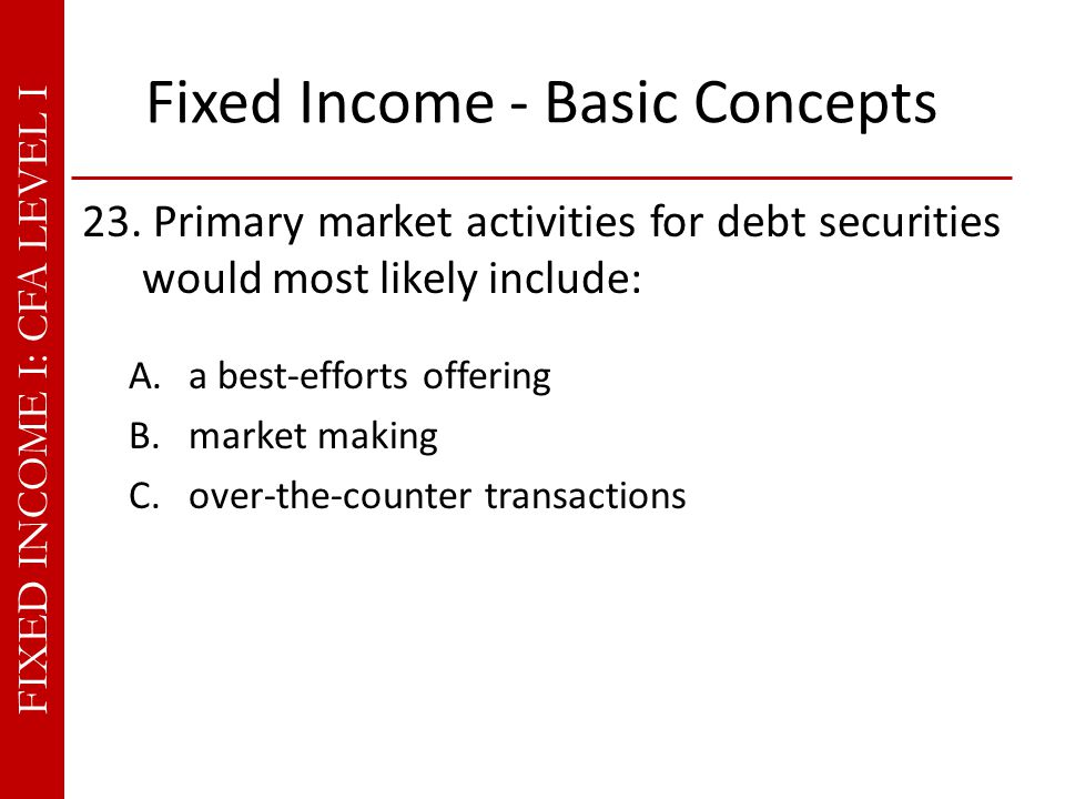 FIXED INCOME I: CFA LEVEL I Fixed Income - Basic Concepts 23.