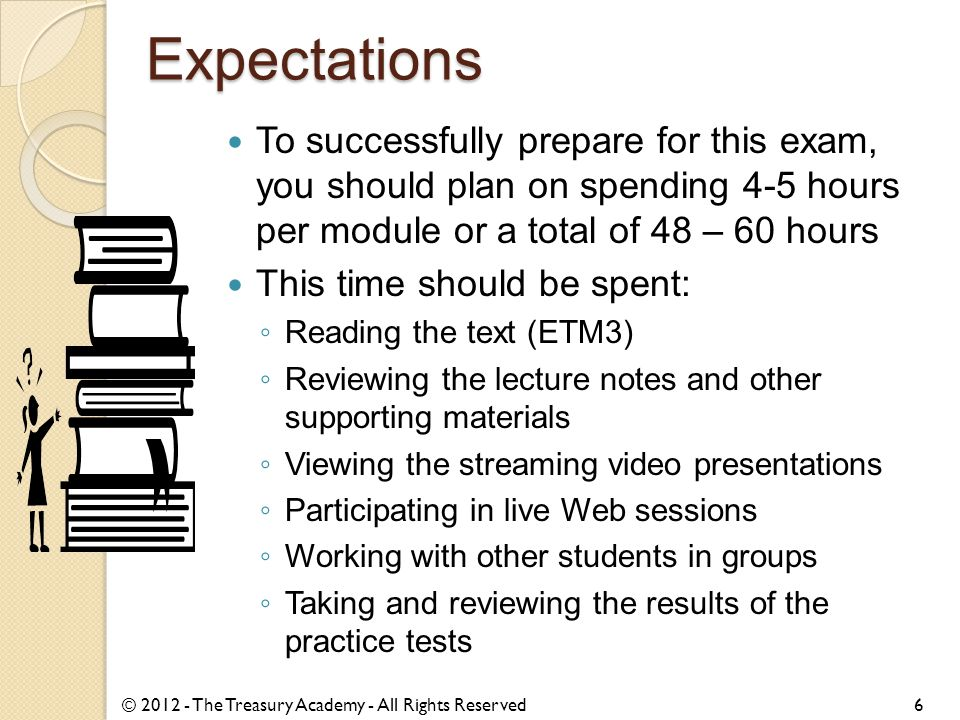 Expectations To successfully prepare for this exam, you should plan on spending 4-5 hours per module or a total of 48 – 60 hours This time should be s