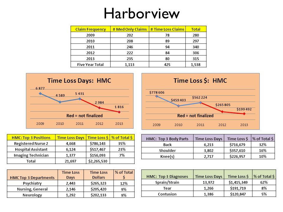 Harborview Claim Frequency# Med Only Claims# Time Loss ClaimsTotal 200920278280 201020889297 201124694340 201222284306 201323580315 Five Year Total1,1134251,538 HMC: Top 3 DiagnosesTime Loss DaysTime Loss $% of Total $ Sprain/Strain13,972$1,415,34962% Tear1,266$191,7198% Contusion1,386$120,8475% HMC: Top 3 Body PartsTime Loss DaysTime Loss $% of Total $ Back6,213$716,679 32% Shoulder3,802$357,610 16% Knee(s)2,717$226,957 10% HMC Top 3 Departments Time Loss Days Time Loss Dollars % of Total $ Psychiatry2,443$265,323 12% Nursing, General2,146$205,420 9% Neurology1,292$202,133 9% HMC: Top 3 PositionsTime Loss DaysTime Loss $% of Total $ Registered Nurse 24,668$786,14335% Hospital Assistant6,124$517,46723% Imaging Technician1,377$156,0937% Total21,697$2,265,530