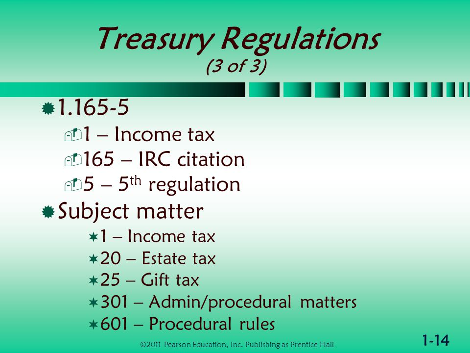 1-14 Treasury Regulations (3 of 3)  1.165-5  1 – Income tax  165 – IRC citation  5 – 5 th regulation  Subject matter  1 – Income tax  20 – Estate tax  25 – Gift tax  301 – Admin/procedural matters  601 – Procedural rules ©2011 Pearson Education, Inc.