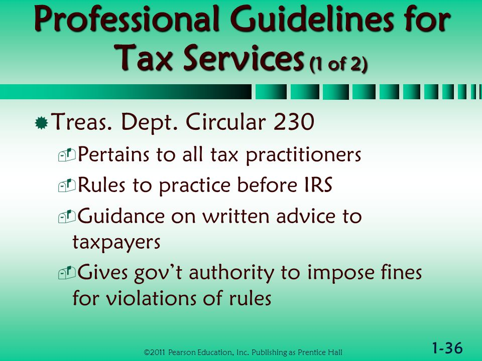 1-36 Professional Guidelines for Tax Services (1 of 2)  Treas.