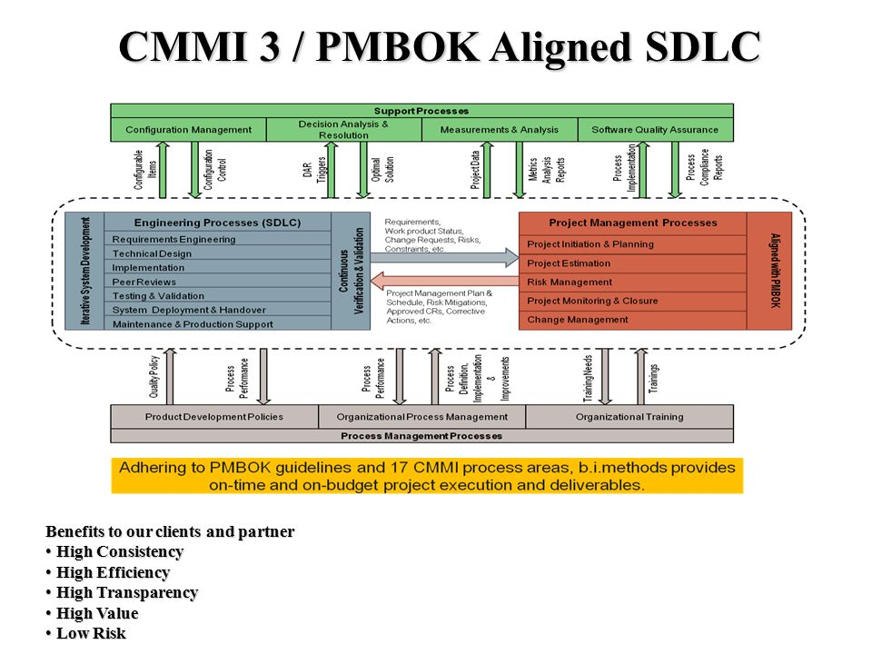 PMBOK Aligned Process Architecture CMMI 3 / PMBOK Aligned SDLC Benefits to our clients and partner High Consistency High Consistency High Efficiency High Efficiency High Transparency High Transparency High Value High Value Low Risk Low Risk