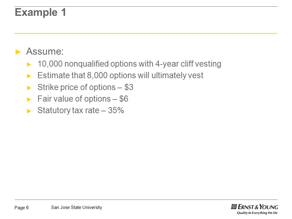 Page 6 San Jose State University Example 1 ► Assume: ► 10,000 nonqualified options with 4-year cliff vesting ► Estimate that 8,000 options will ultimately vest ► Strike price of options – $3 ► Fair value of options – $6 ► Statutory tax rate – 35%
