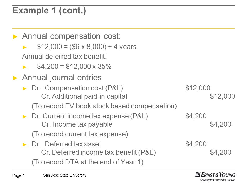 Page 7 San Jose State University Example 1 (cont.) ► Annual compensation cost: ► $12,000 = ($6 x 8,000) ÷ 4 years Annual deferred tax benefit: ► $4,200 = $12,000 x 35% ► Annual journal entries ► Dr.