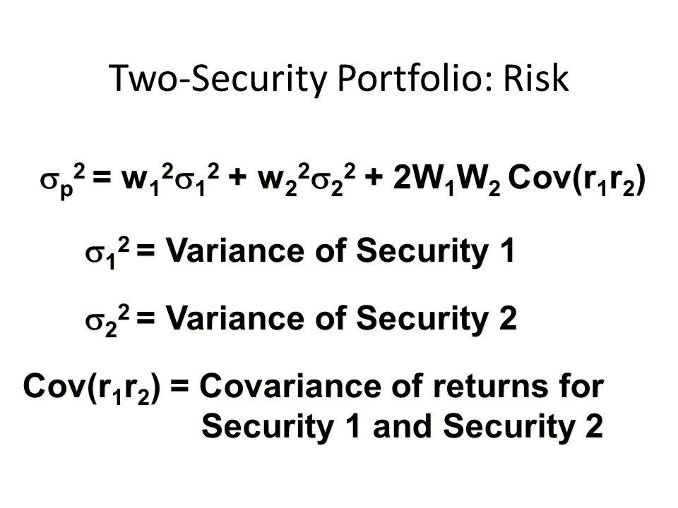  p 2 = w 1 2  1 2 + w 2 2  2 2 + 2W 1 W 2 Cov(r 1 r 2 )  1 2 = Variance of Security 1  2 2 = Variance of Security 2 Cov(r 1 r 2 ) = Covariance of