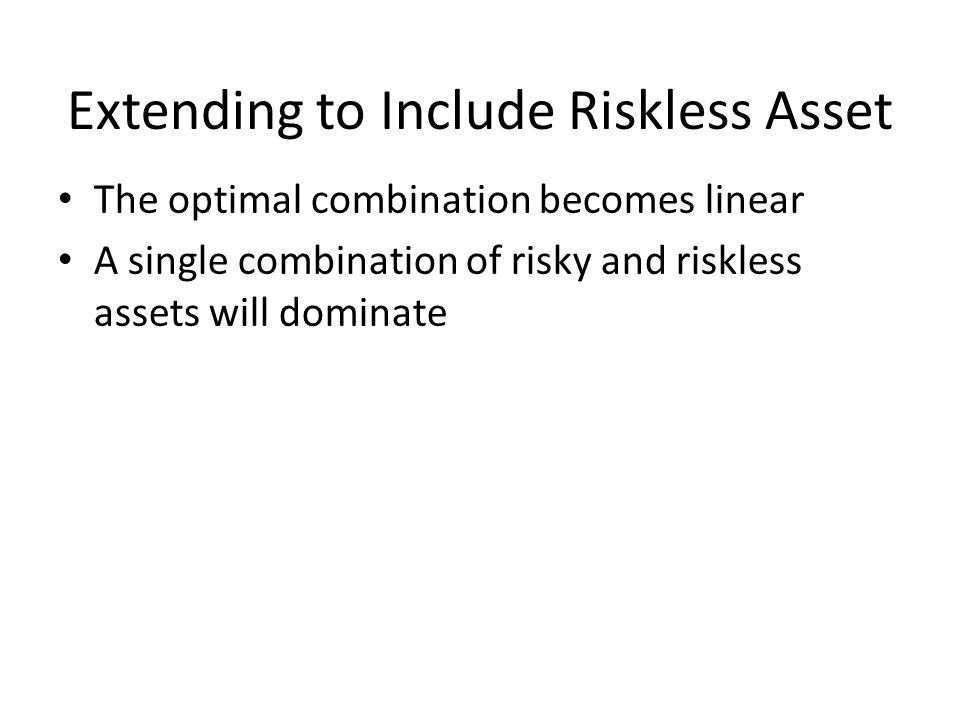 Extending to Include Riskless Asset The optimal combination becomes linear A single combination of risky and riskless assets will dominate