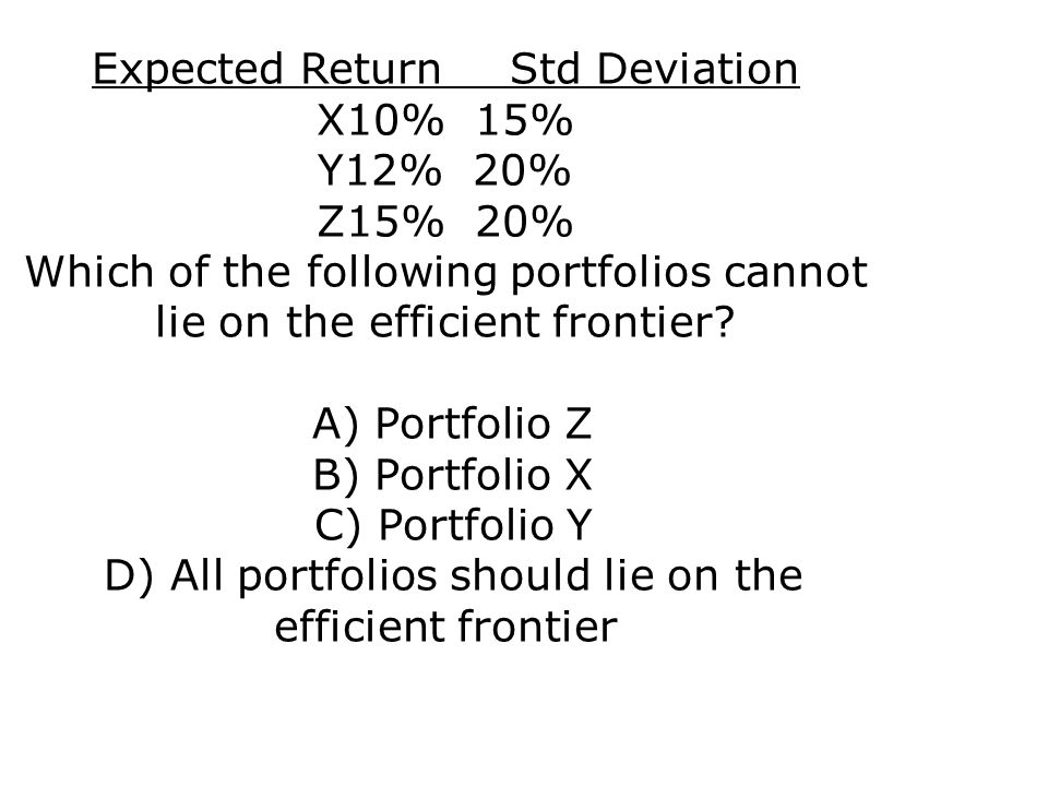 Expected ReturnStd Deviation X10% 15% Y12% 20% Z15% 20% Which of the following portfolios cannot lie on the efficient frontier? A) Portfolio Z B) Port