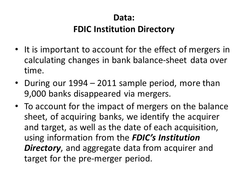 Data: FDIC Institution Directory It is important to account for the effect of mergers in calculating changes in bank balance-sheet data over time.