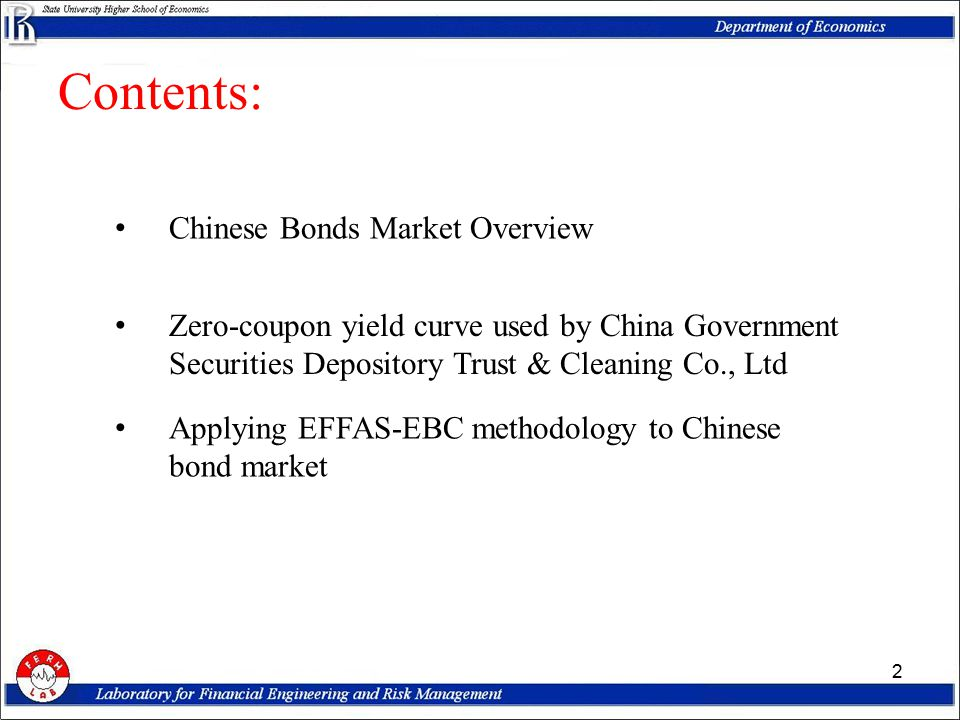 Market overview 3 About 3946 bonds with total worth 44 526,7 billion RMB issued since 1998 Currently traded: 1912 bonds with outstanding amount 18 508 billion RMB About 1000 transactions a day with average daily turnaround about 160 billion RMB Bonds are traded at SSE, SZE, OTC and inter- bank markets