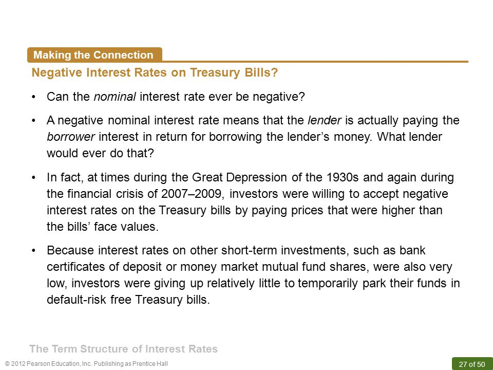 © 2012 Pearson Education, Inc. Publishing as Prentice Hall 27 of 50 Making the Connection Negative Interest Rates on Treasury Bills? Can the nominal i