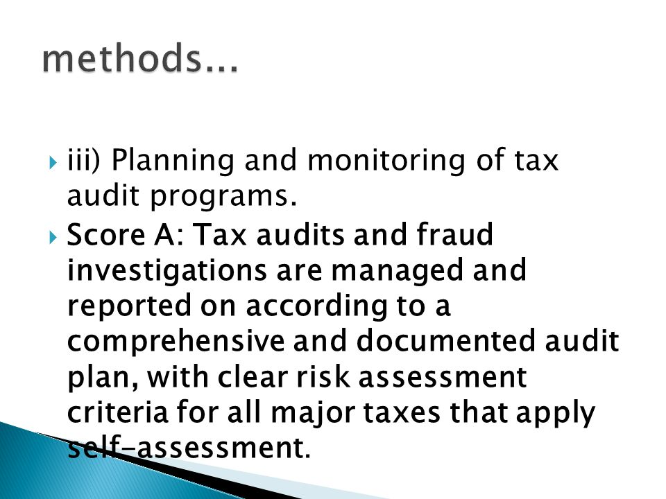  iii) Planning and monitoring of tax audit programs.