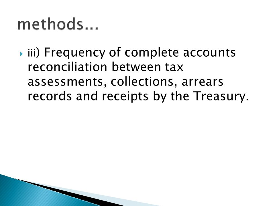  iii ) Frequency of complete accounts reconciliation between tax assessments, collections, arrears records and receipts by the Treasury.