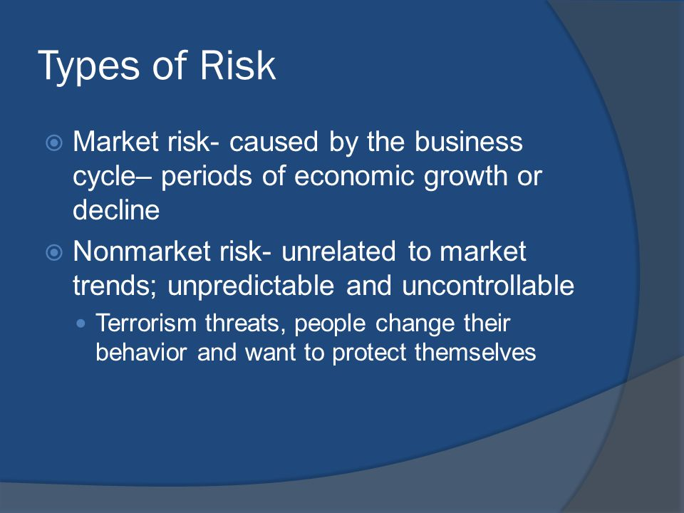 Types of Risk  Market risk- caused by the business cycle– periods of economic growth or decline  Nonmarket risk- unrelated to market trends; unpredi