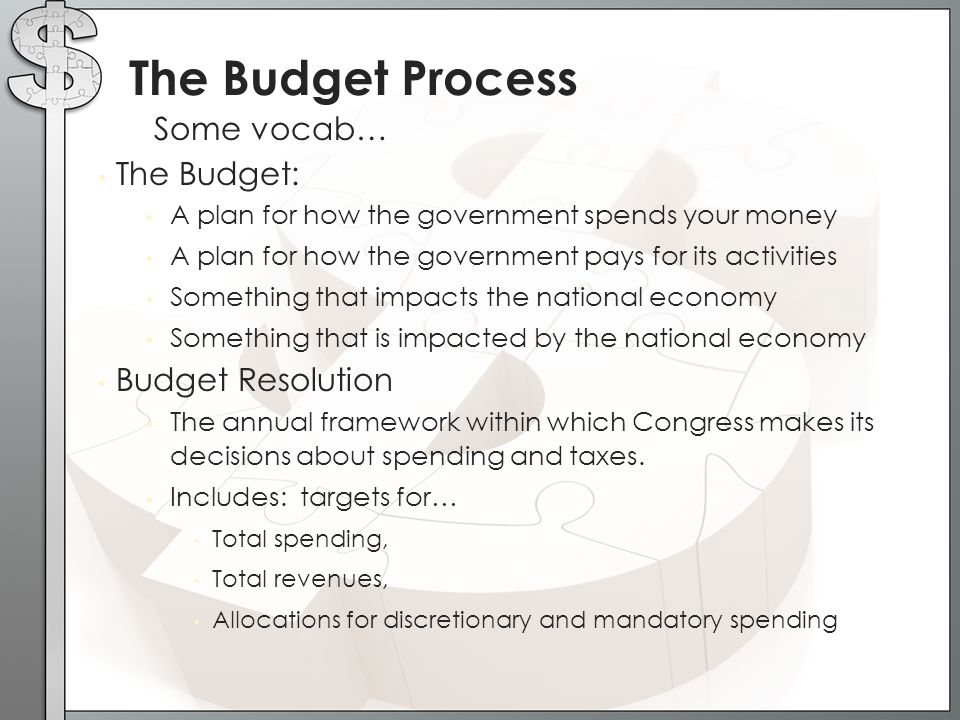 Some vocab… The Budget Process The Budget: A plan for how the government spends your money A plan for how the government pays for its activities Somet