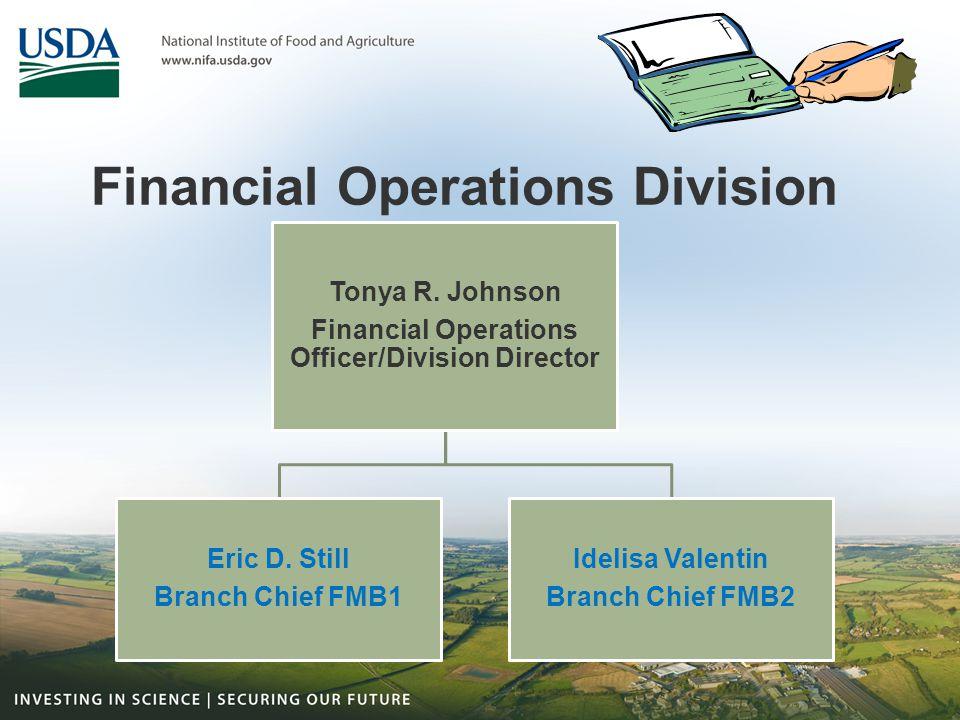 Financial Operations Division Tonya R. Johnson Financial Operations Officer/Division Director Eric D. Still Branch Chief FMB1 Idelisa Valentin Branch