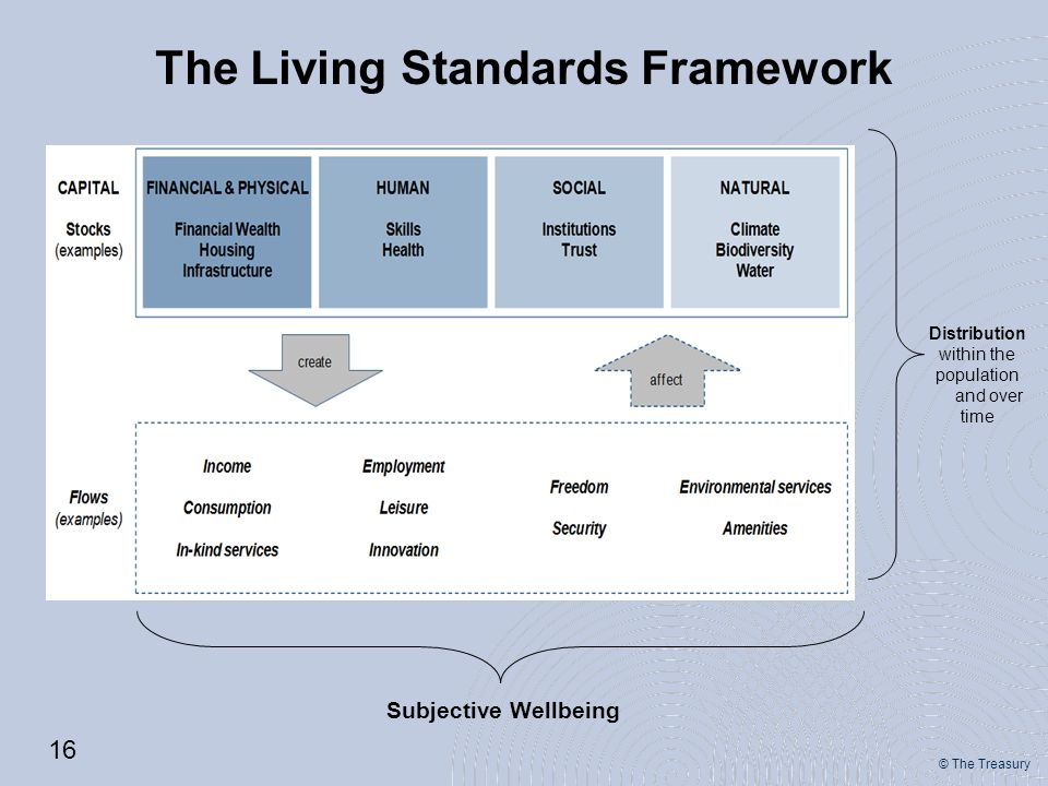 © The Treasury Distribution within the population and over time Subjective Wellbeing The Living Standards Framework 16