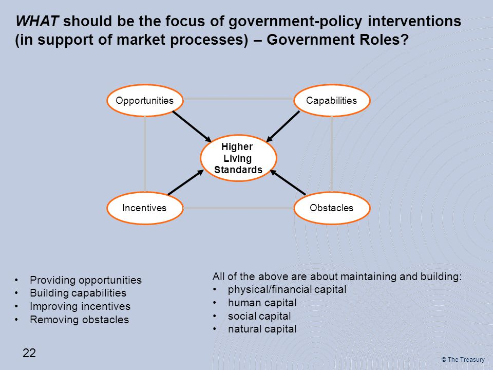 © The Treasury WHAT should be the focus of government-policy interventions (in support of market processes) – Government Roles.