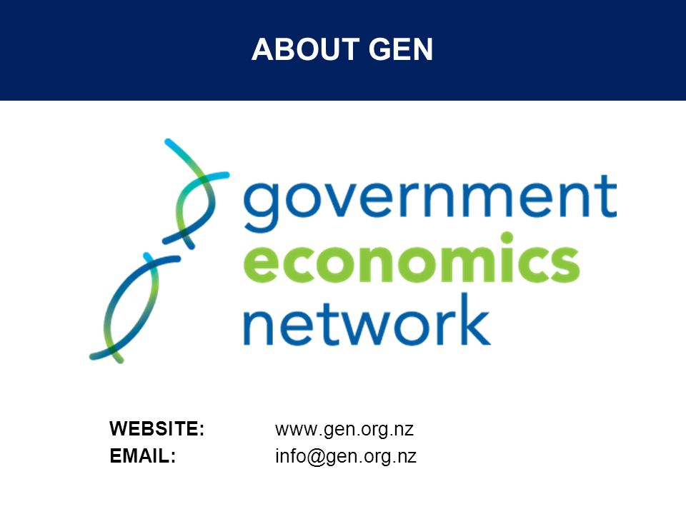 © The Treasury ABOUT GEN WEBSITE: www.gen.org.nz EMAIL: info@gen.org.nz