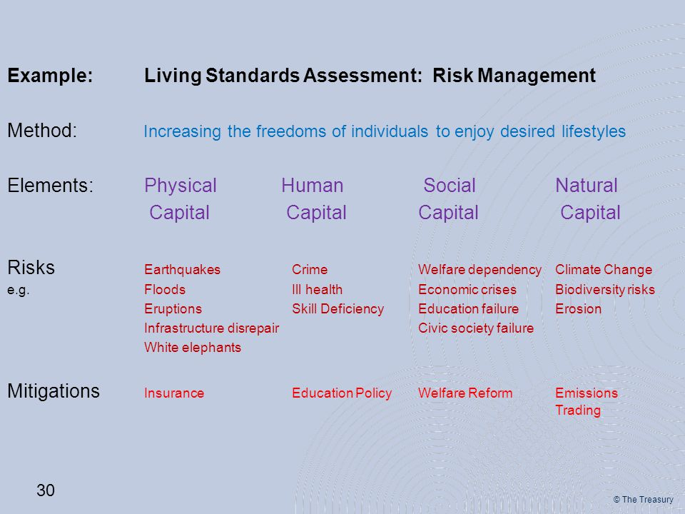 © The Treasury Example: Living Standards Assessment: Risk Management Method: Increasing the freedoms of individuals to enjoy desired lifestyles Elemen