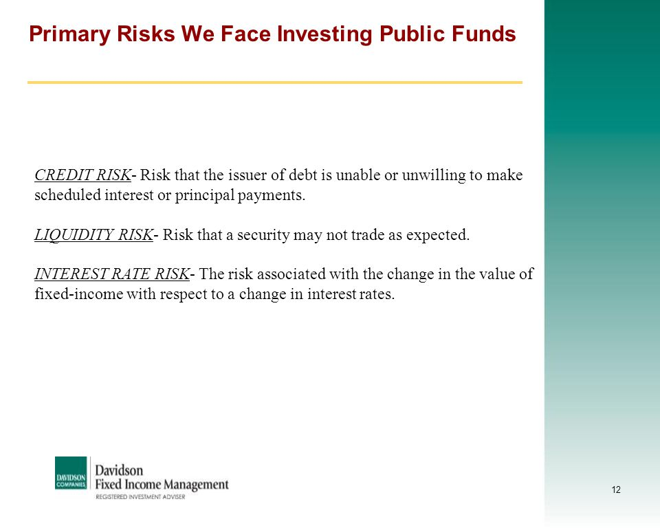 12 Primary Risks We Face Investing Public Funds CREDIT RISK- Risk that the issuer of debt is unable or unwilling to make scheduled interest or princip