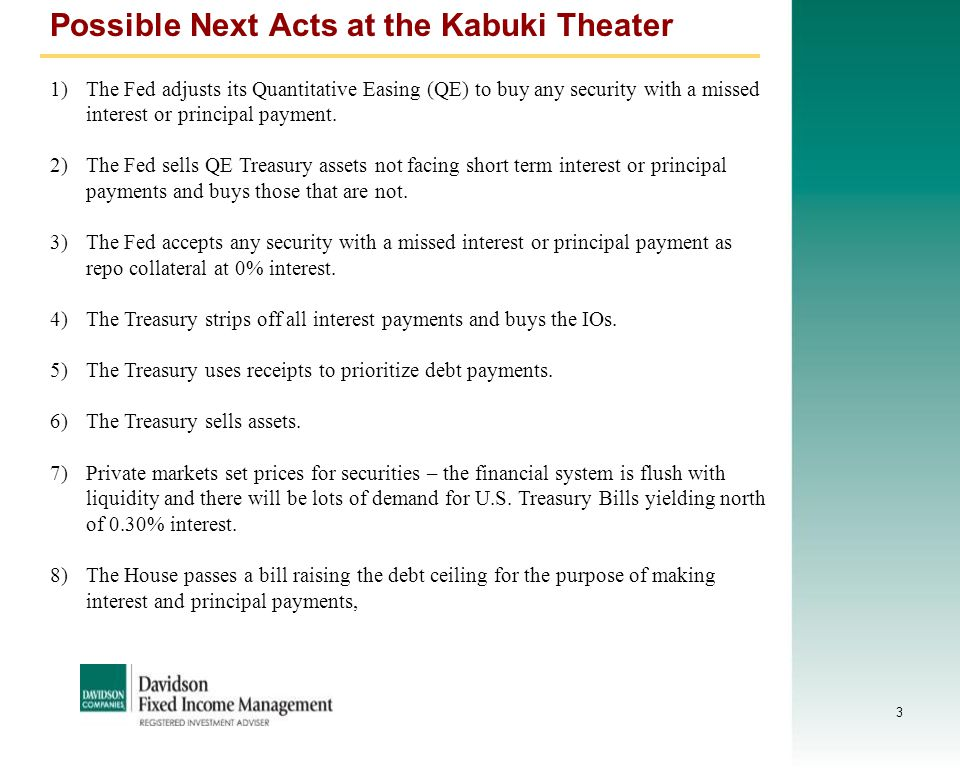 3 Possible Next Acts at the Kabuki Theater 1)The Fed adjusts its Quantitative Easing (QE) to buy any security with a missed interest or principal paym