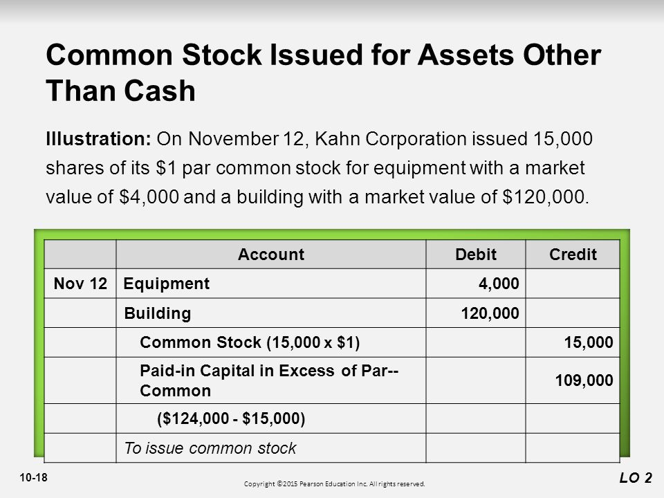 10-18 Common Stock Issued for Assets Other Than Cash LO 2 Illustration: On November 12, Kahn Corporation issued 15,000 shares of its $1 par common stock for equipment with a market value of $4,000 and a building with a market value of $120,000.