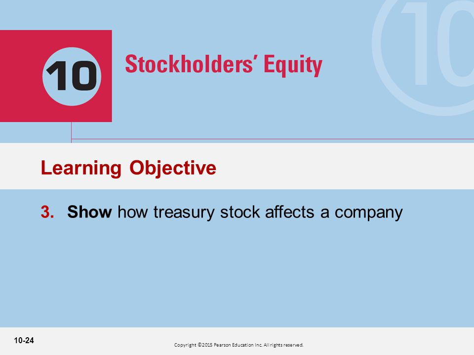 10-24 3.Show how treasury stock affects a company Learning Objective Copyright ©2015 Pearson Education Inc.