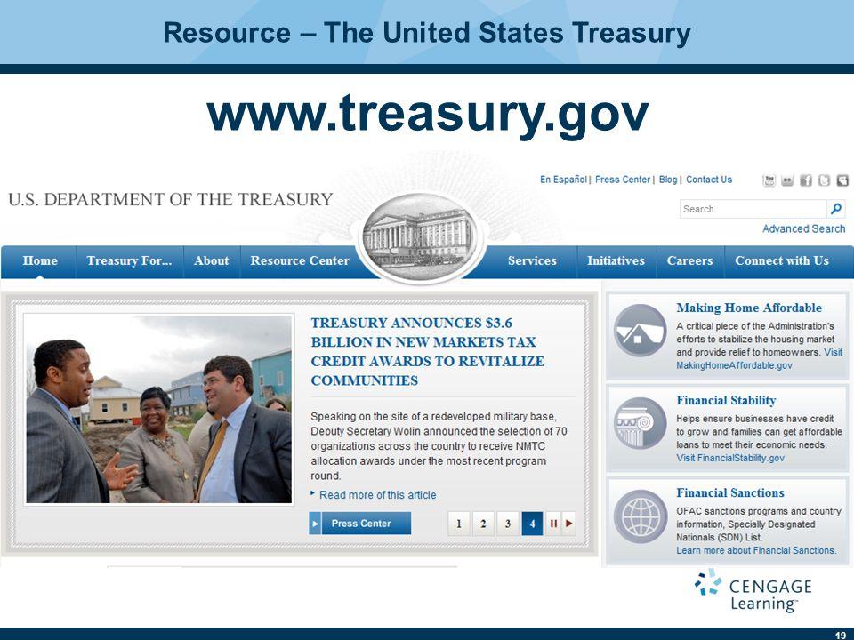 19 Resource – The United States Treasury www.treasury.gov