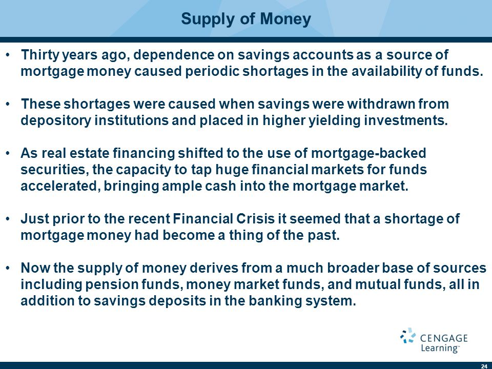 24 Supply of Money Thirty years ago, dependence on savings accounts as a source of mortgage money caused periodic shortages in the availability of funds.