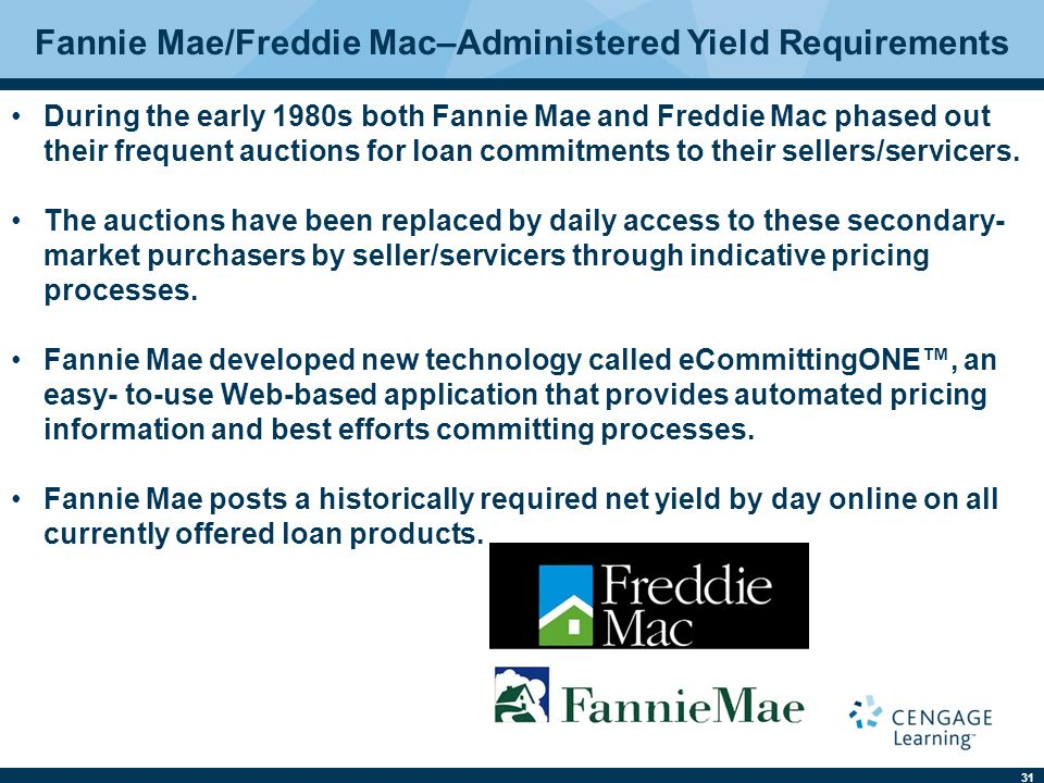 31 Fannie Mae/Freddie Mac–Administered Yield Requirements During the early 1980s both Fannie Mae and Freddie Mac phased out their frequent auctions for loan commitments to their sellers/servicers.