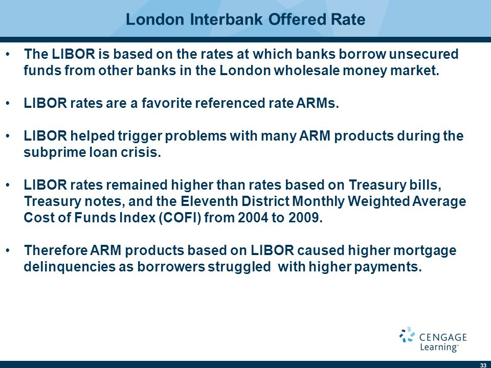 33 London Interbank Offered Rate The LIBOR is based on the rates at which banks borrow unsecured funds from other banks in the London wholesale money market.