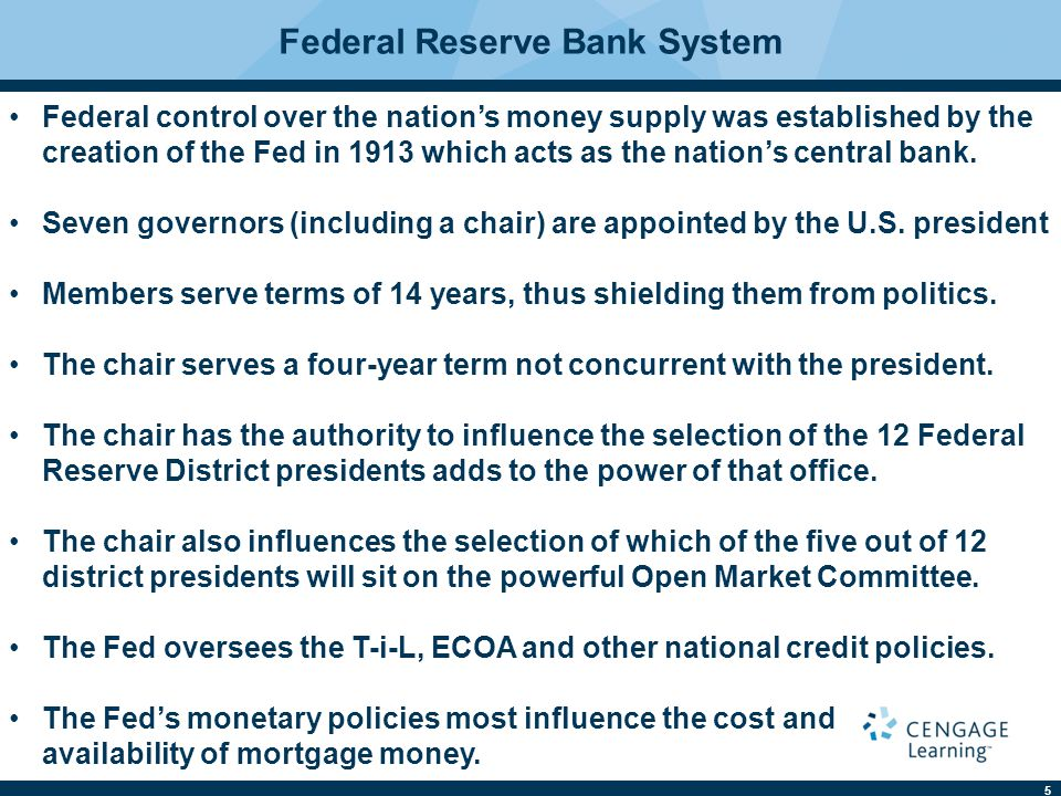 5 Federal Reserve Bank System Federal control over the nation's money supply was established by the creation of the Fed in 1913 which acts as the nation's central bank.