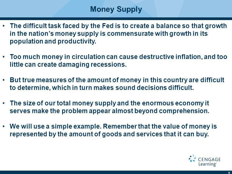 8 Money Supply The difficult task faced by the Fed is to create a balance so that growth in the nation's money supply is commensurate with growth in its population and productivity.