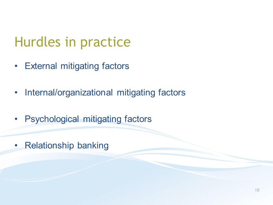 Hurdles in practice External mitigating factors Internal/organizational mitigating factors Psychological mitigating factors Relationship banking 10