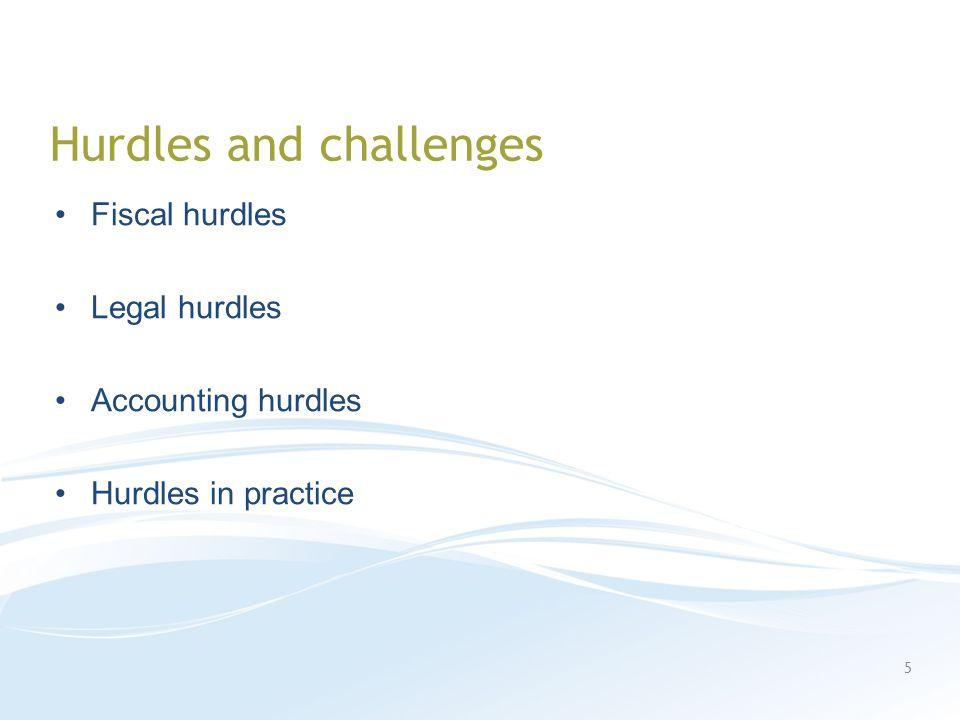 Hurdles and challenges Fiscal hurdles Legal hurdles Accounting hurdles Hurdles in practice 5