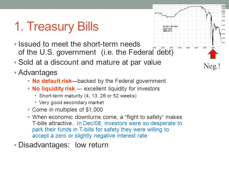 1. Treasury Bills  Issued to meet the short-term needs of the U.S.