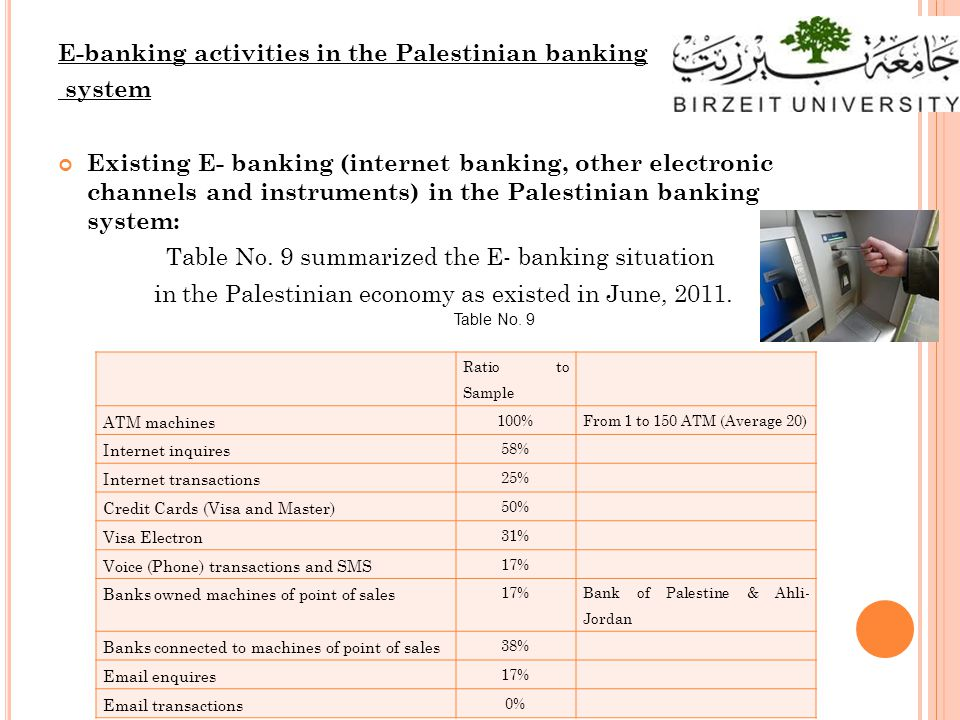 E-banking activities in the Palestinian banking system Existing E- banking (internet banking, other electronic channels and instruments) in the Palestinian banking system: Table No.