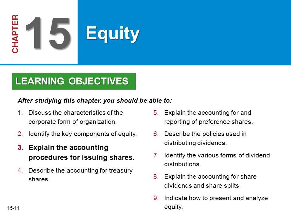 15-11 5. 5.Explain the accounting for and reporting of preference shares. 6. 6.Describe the policies used in distributing dividends. 7. 7.Identify the