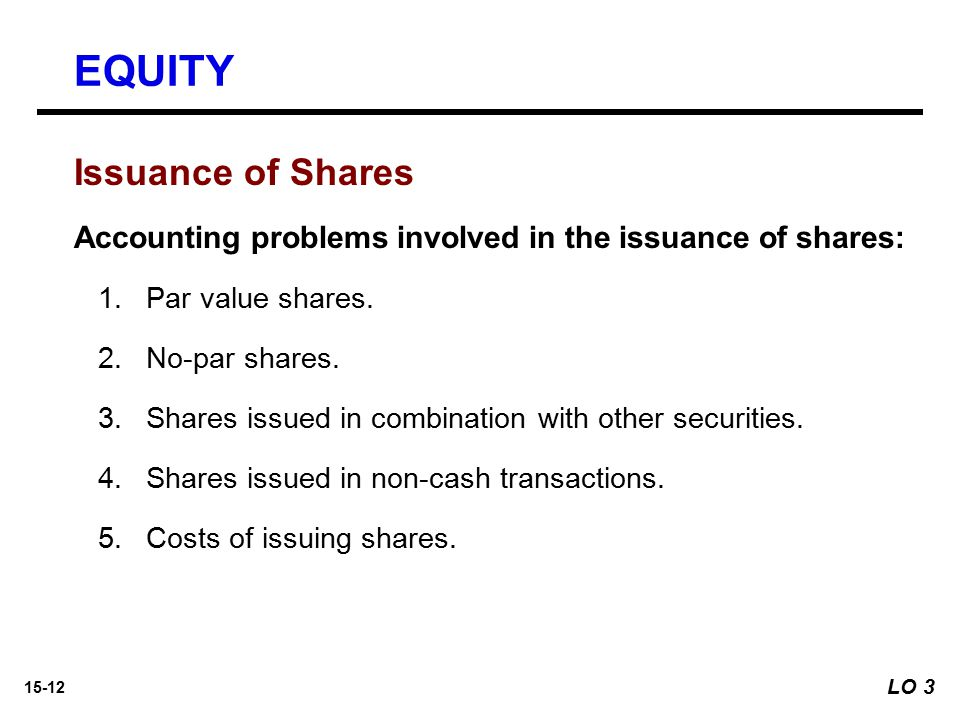 15-12 Issuance of Shares Accounting problems involved in the issuance of shares: 1. 1.Par value shares. 2. 2.No-par shares. 3. 3.Shares issued in comb