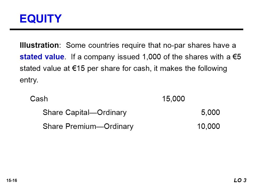 15-16 Illustration: Some countries require that no-par shares have a stated value. If a company issued 1,000 of the shares with a €5 stated value at €