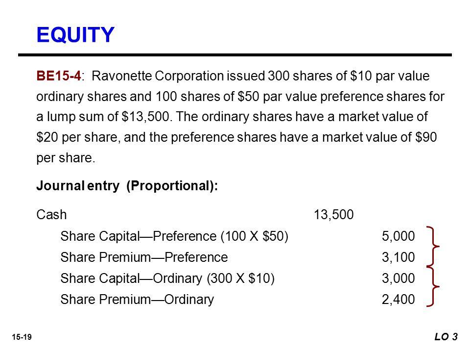 15-19 Cash13,500 Share Capital—Preference (100 X $50)5,000 Share Premium—Preference 3,100 Share Capital—Ordinary (300 X $10)3,000 Share Premium—Ordina