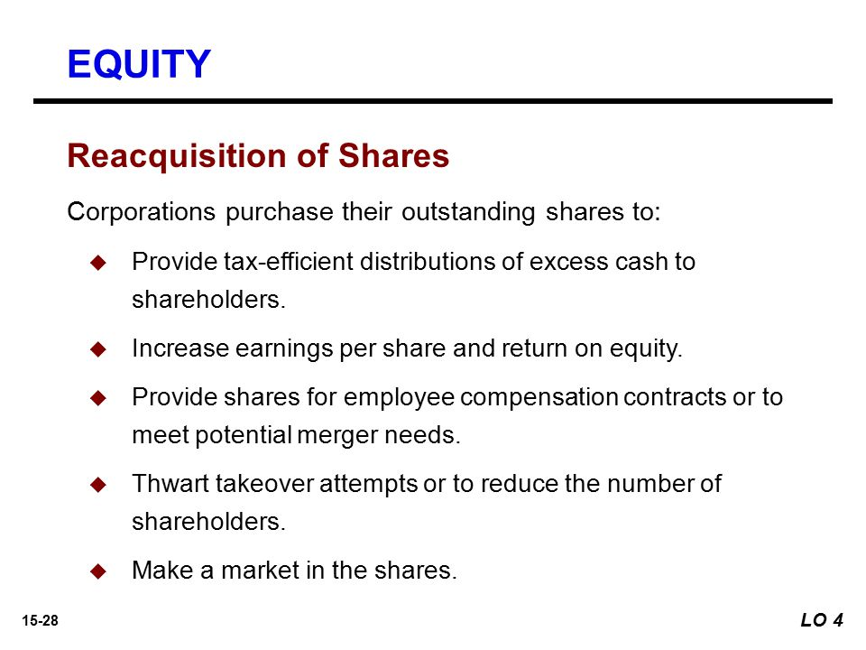 15-28 Reacquisition of Shares Corporations purchase their outstanding shares to:   Provide tax-efficient distributions of excess cash to shareholder