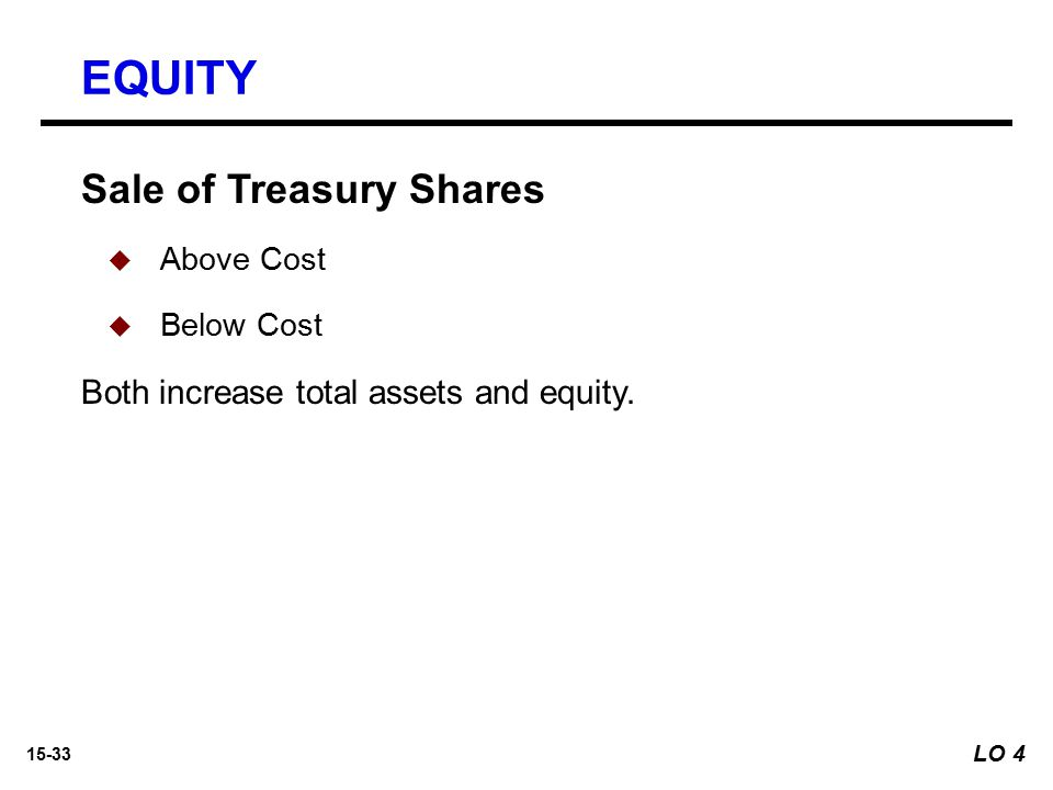 15-33 Sale of Treasury Shares   Above Cost   Below Cost Both increase total assets and equity. EQUITY LO 4