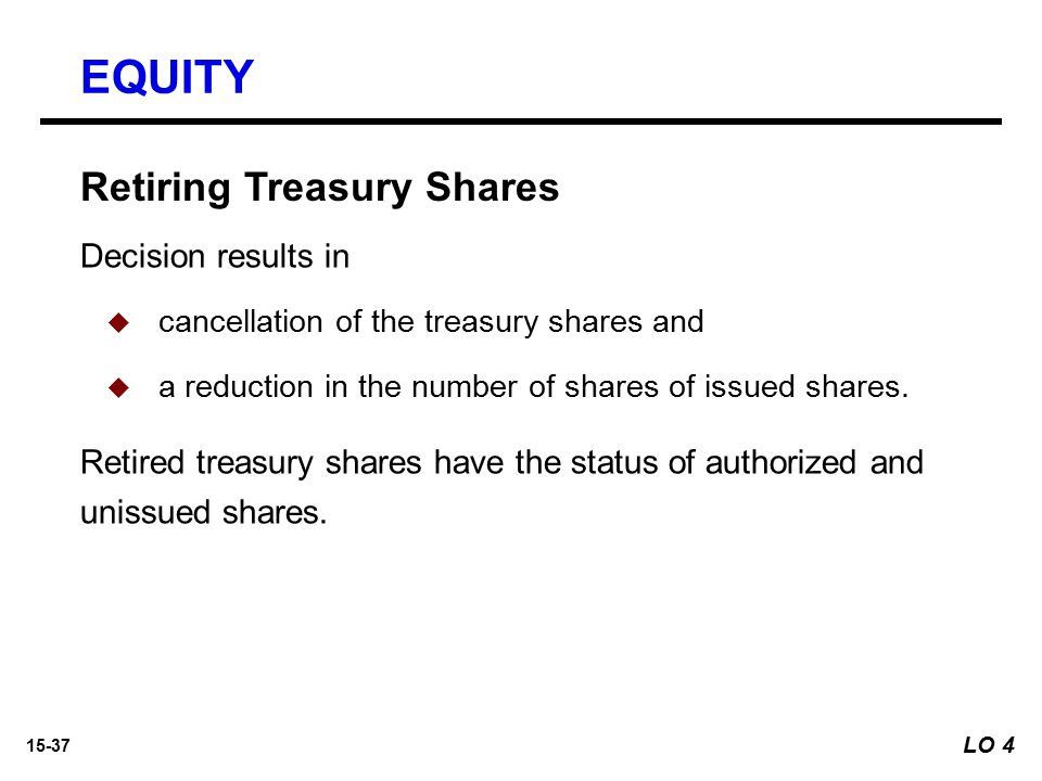 15-37 Retiring Treasury Shares Decision results in   cancellation of the treasury shares and   a reduction in the number of shares of issued share