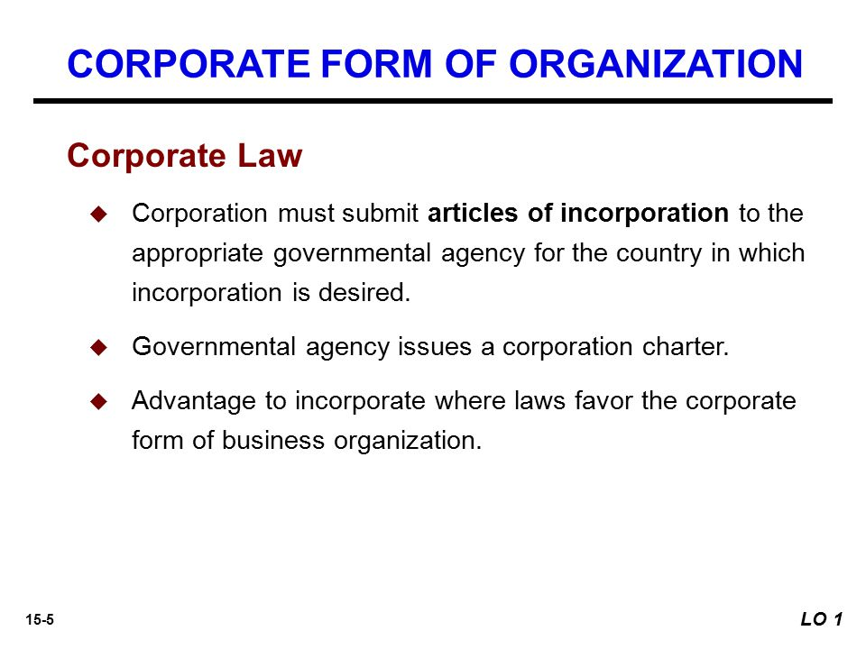 15-5 Corporate Law   Corporation must submit articles of incorporation to the appropriate governmental agency for the country in which incorporation