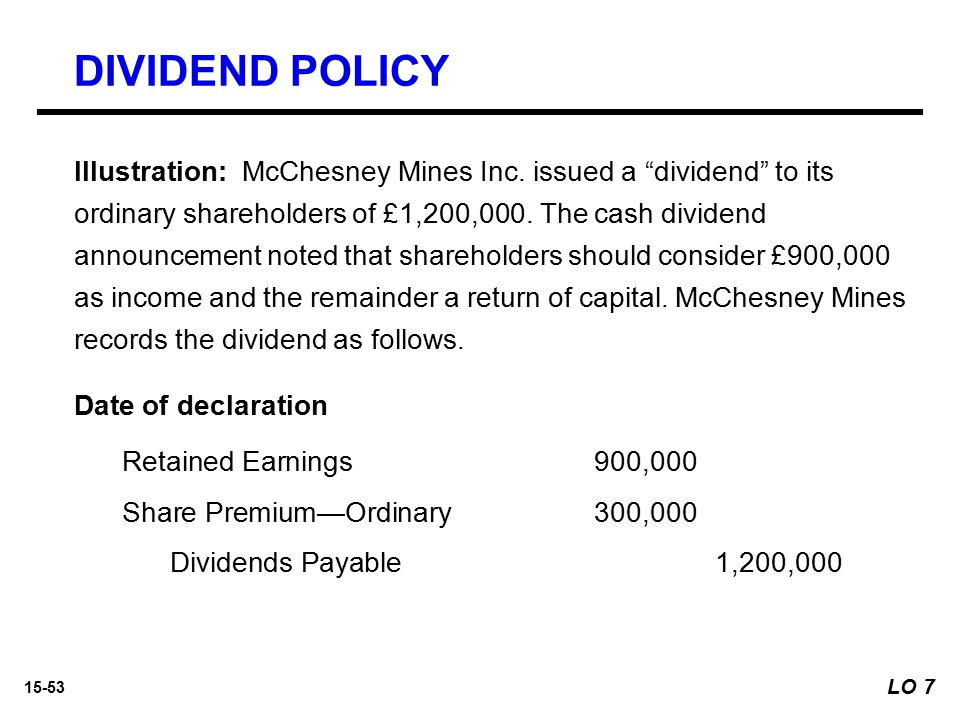 """15-53 Illustration: McChesney Mines Inc. issued a """"dividend"""" to its ordinary shareholders of £1,200,000. The cash dividend announcement noted that sha"""