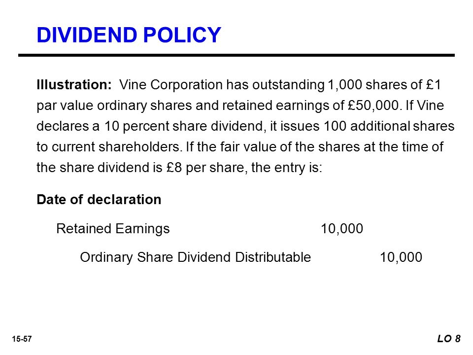15-57 Illustration: Vine Corporation has outstanding 1,000 shares of £1 par value ordinary shares and retained earnings of £50,000. If Vine declares a