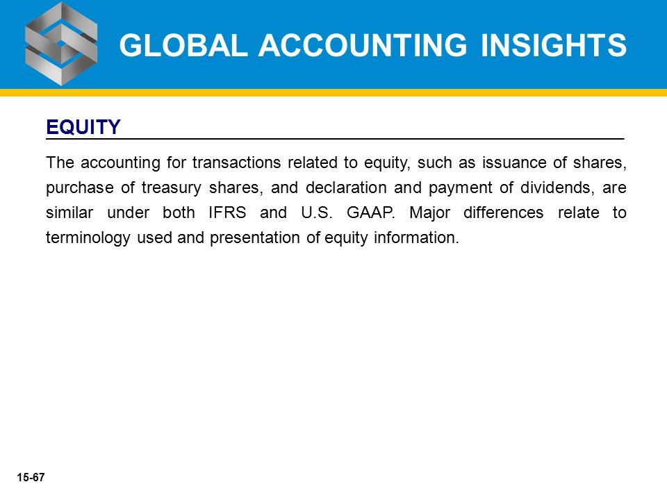 15-67 EQUITY The accounting for transactions related to equity, such as issuance of shares, purchase of treasury shares, and declaration and payment o