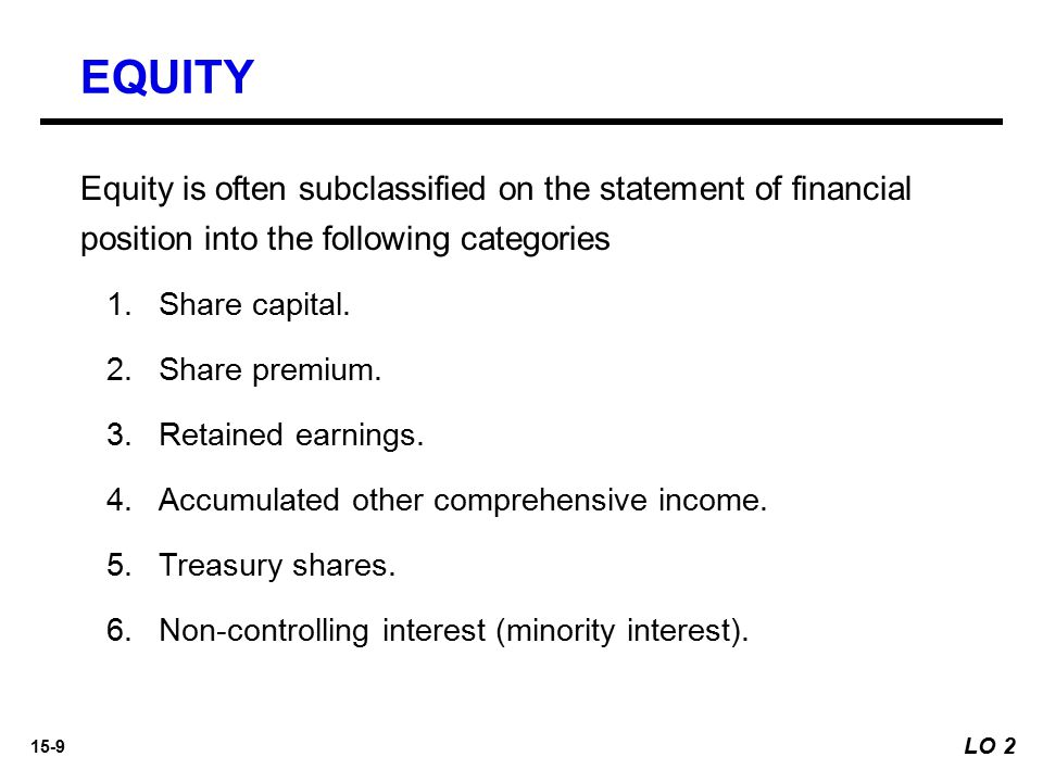 15-9 Equity is often subclassified on the statement of financial position into the following categories 1. 1.Share capital. 2. 2.Share premium. 3. 3.R
