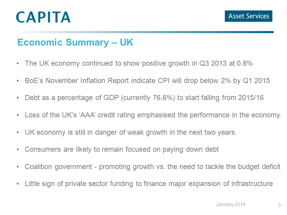 3 Economic Summary – UK The UK economy continued to show positive growth in Q3 2013 at 0.8% BoE's November Inflation Report indicate CPI will drop bel